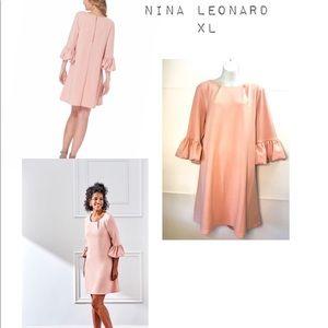 Nina Leonard Bell Sleeve Shift Dress